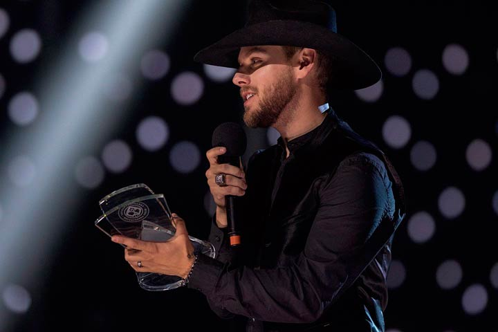 """Brett Kissel was named male artist of the year and won the trophy for video of the year for """"I Didn't Fall In Love With Your Hair"""" at the Canadian Country Music Association Awards."""