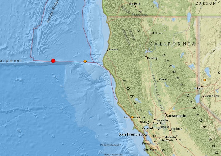 This U.S. Geological Survey (USGS) map shows where a pair of earthquakes struck off California on Sept. 22, 2017.