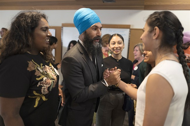 Jagmeet Singh greets supporters before the NDP's Leadership Showcase in Hamilton, Ont., on Sunday September 17 , 2017.