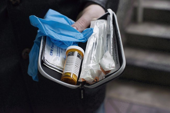 A naloxone anti-overdose kit is shown in Vancouver, Friday, Feb. 10, 2017.