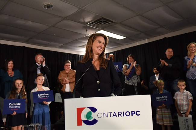 Caroline Mulroney speaks after being named as the Ontario Progressive Conservative nominee for the riding of York-Simcoe. Mulroney's name has been floated as a possible replacement for Patrick Brown.