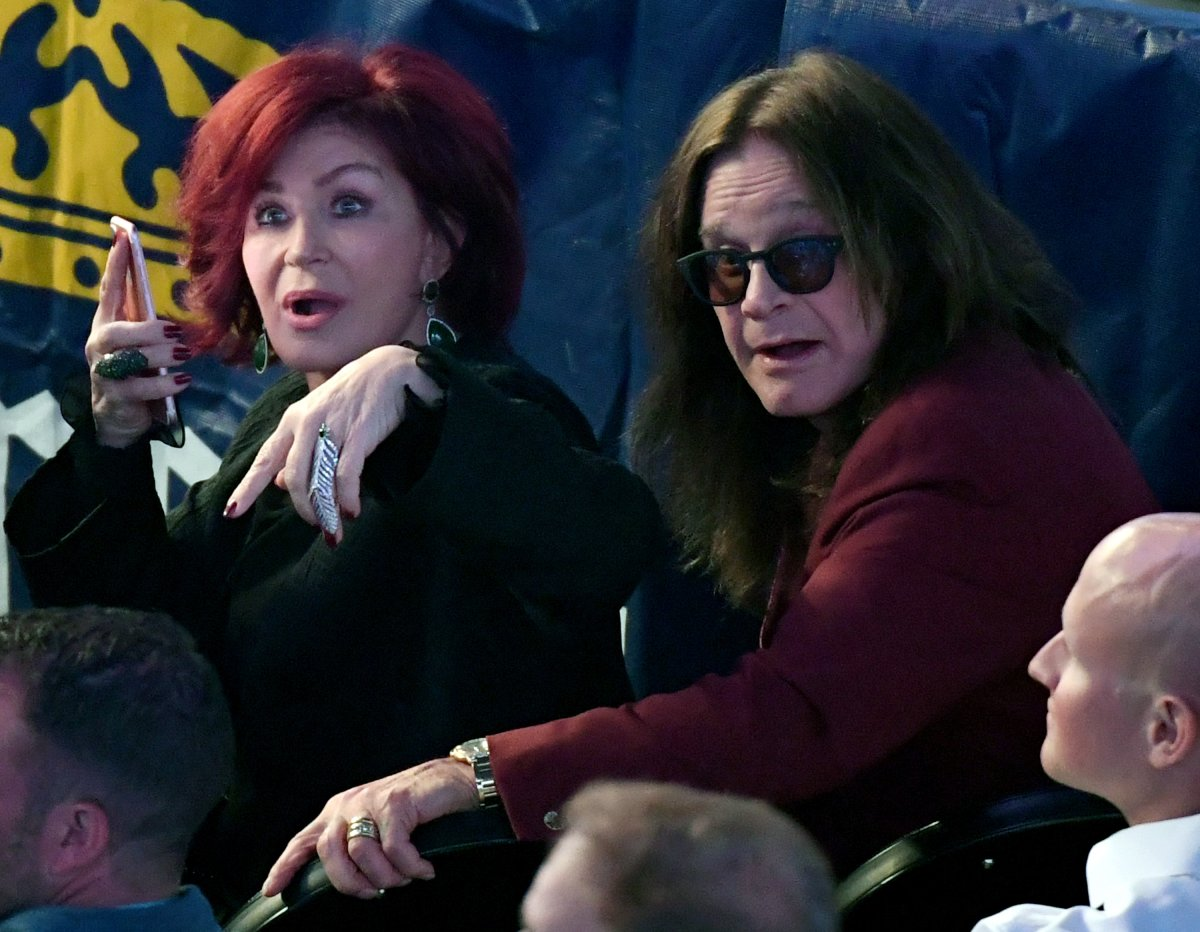 Television personality Sharon Osbourne (L) and singer Ozzy Osbourne attend the super welterweight boxing match between Floyd Mayweather Jr. and Conor McGregor on August 26, 2017 at T-Mobile Arena in Las Vegas, Nevada.