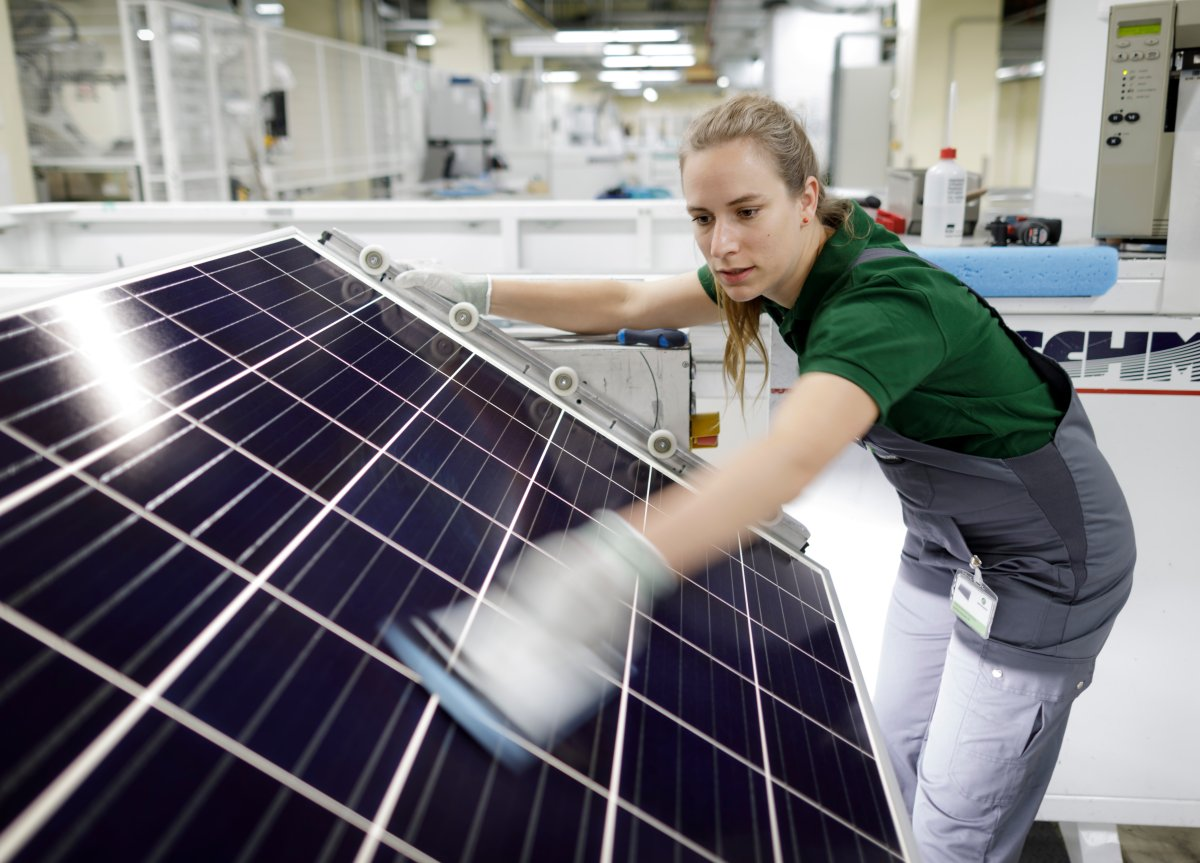 Visual control of a solar panel within the production process on August 01, 2017 in Frankfurt an der Oder, Germany.