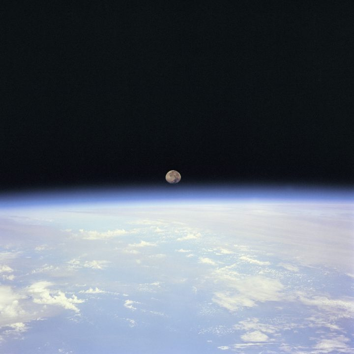 A photo of the moon taken during the STS-70 mission.