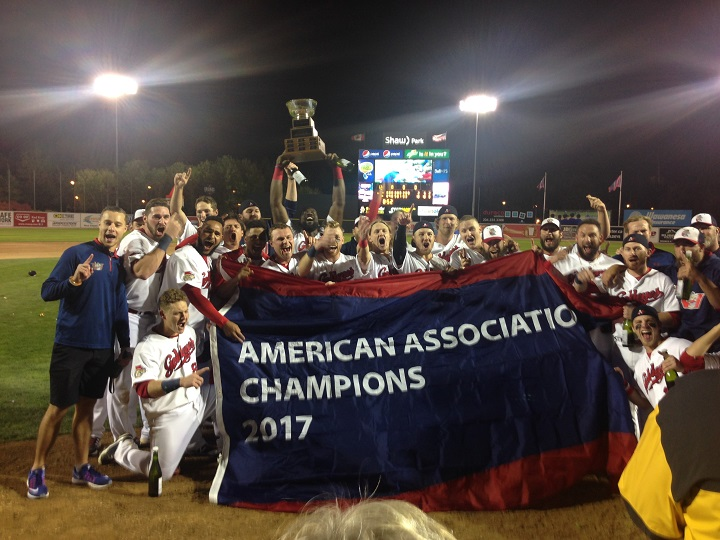 The Winnipeg Goldeyes celebrate their 2017 American Association Championship victory.