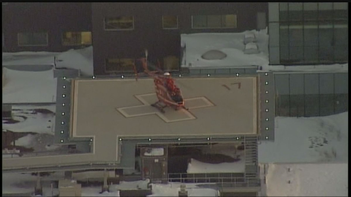 The STARS Air Ambulance lands at the helipad at Health Sciences Centre.