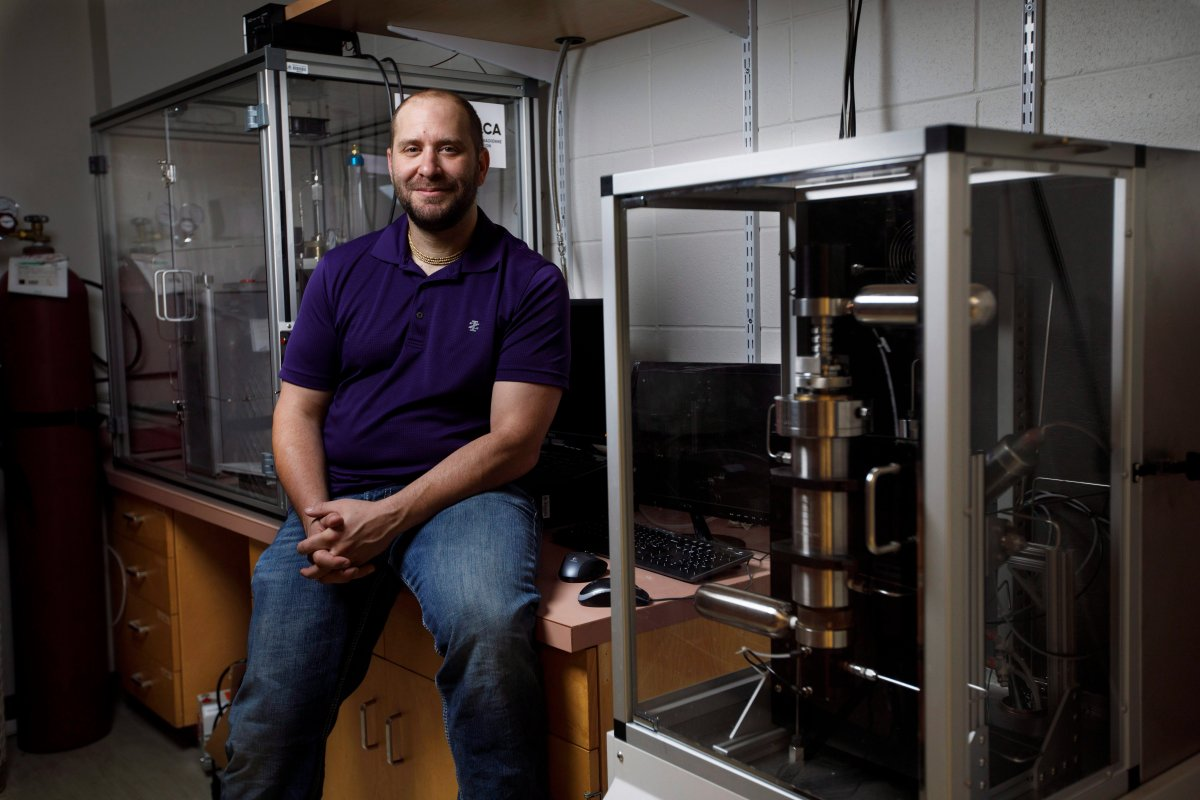 University of Alberta geologist Jonathan Banks, poses in a lab at the University of Alberta, in Edmonton Alta, on Tuesday September 26, 2017.