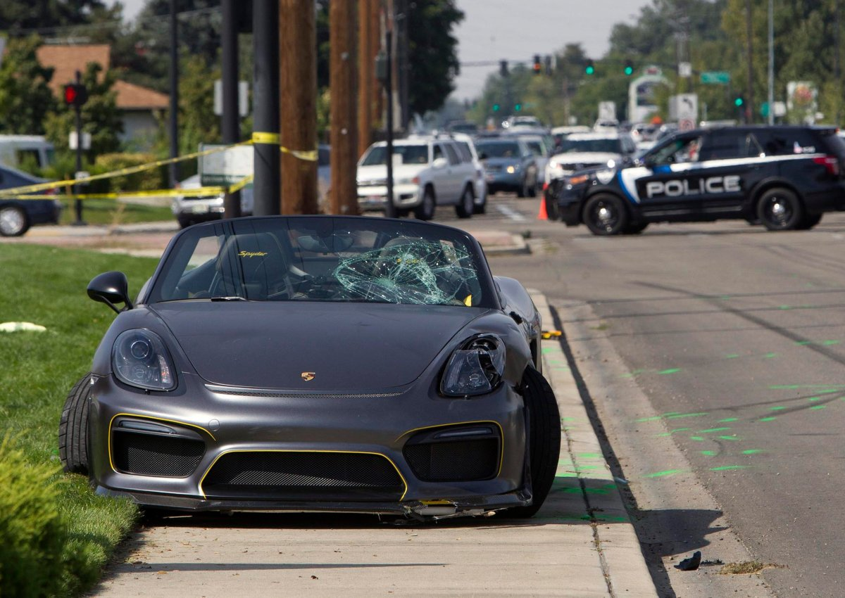 Police block off the scene were the driver of a Porsche injured eight bystanders after losing control of the sports car near the Boise Spectrum 21 theaters Saturday, Sept. 16, 2017 in Boise, Idaho.
