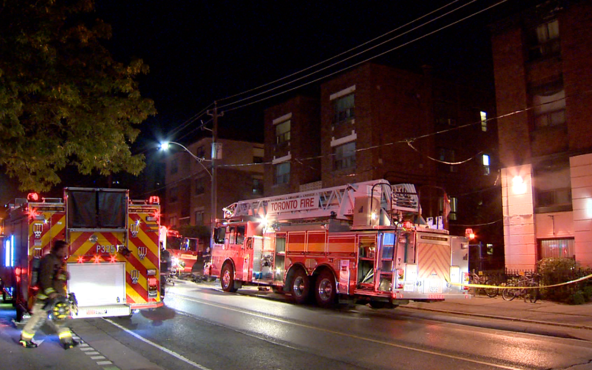 Fire crews respond to a three-alarm blaze at an apartment building in Cabbagetown on Sept. 20, 2017.