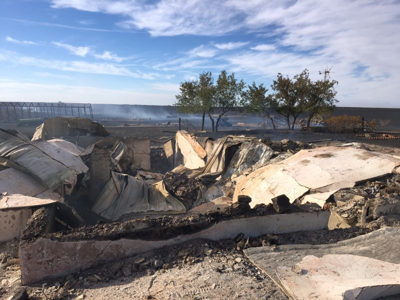 The devastation caused by a fire in southeastern Alberta south of Oyen near the Saskatchewan border on Tuesday, Sept. 12, 2017.