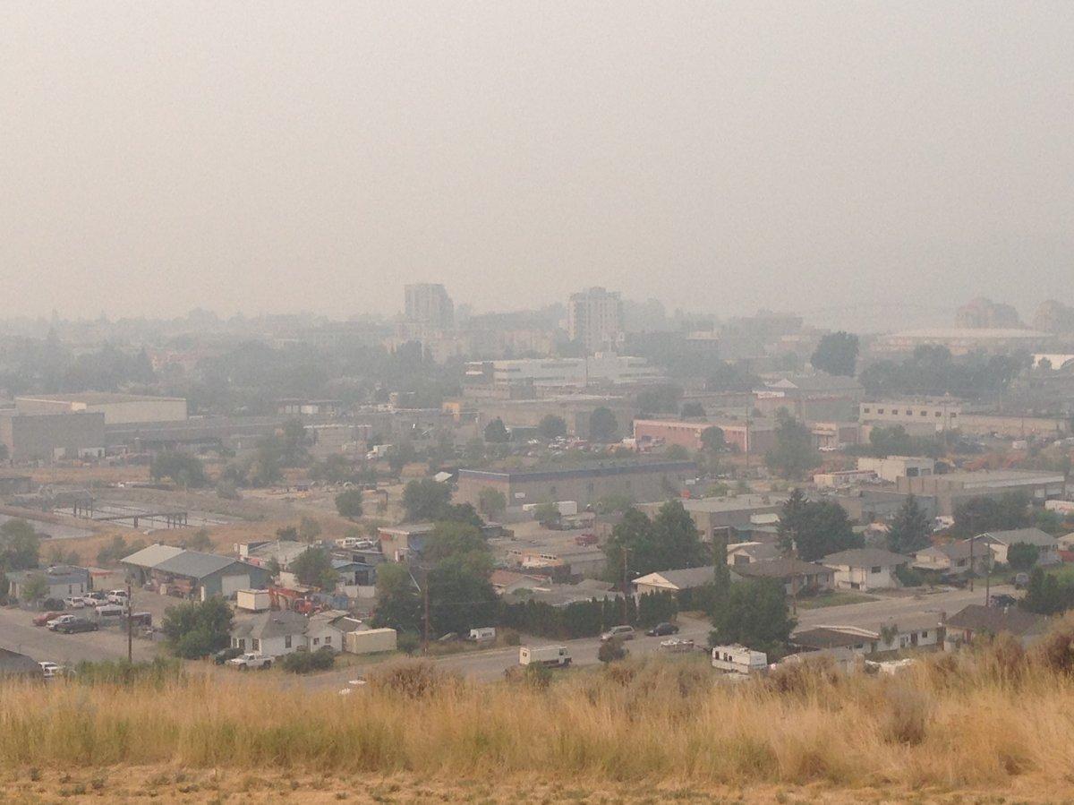 The smoky sky in Kelowna, Friday, August 8.