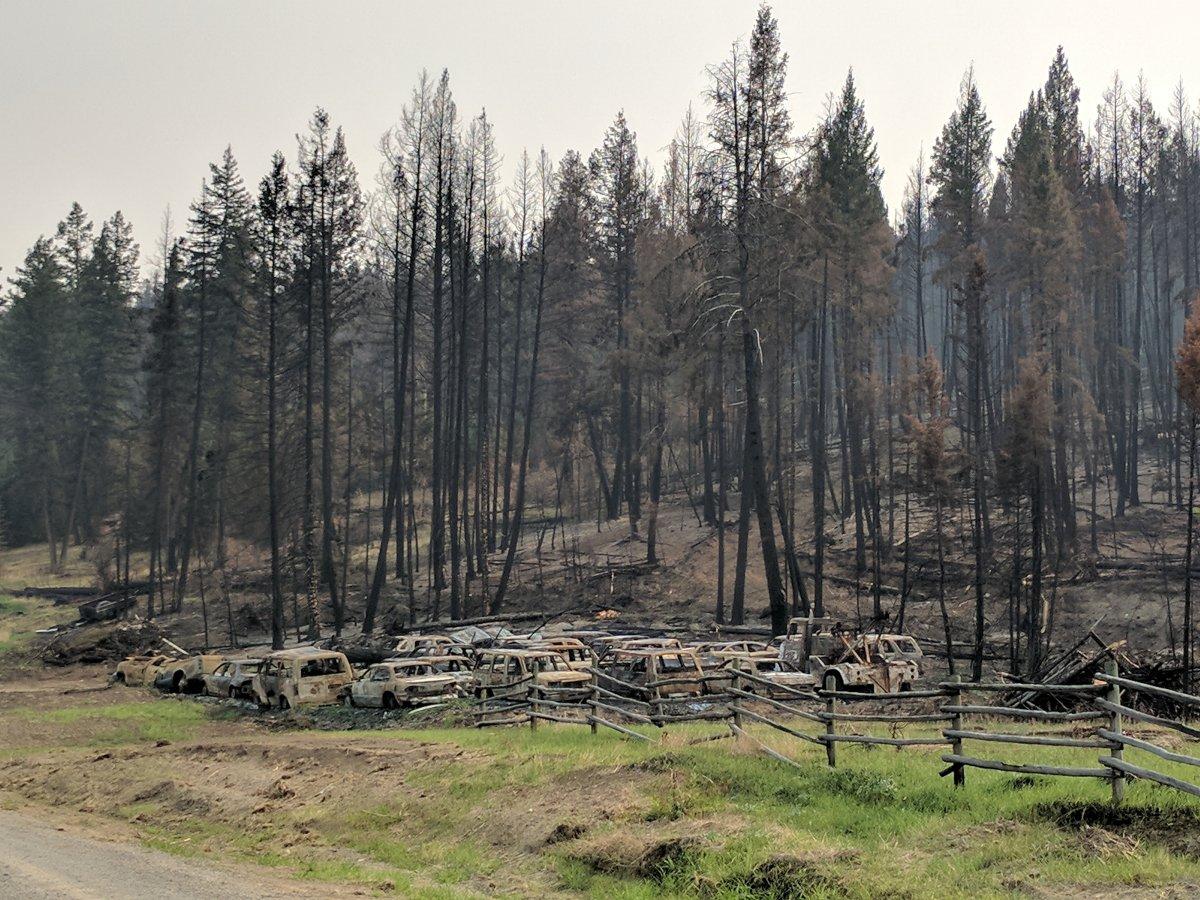 Wildfire damage near Hanceville in the Cariboo region.
