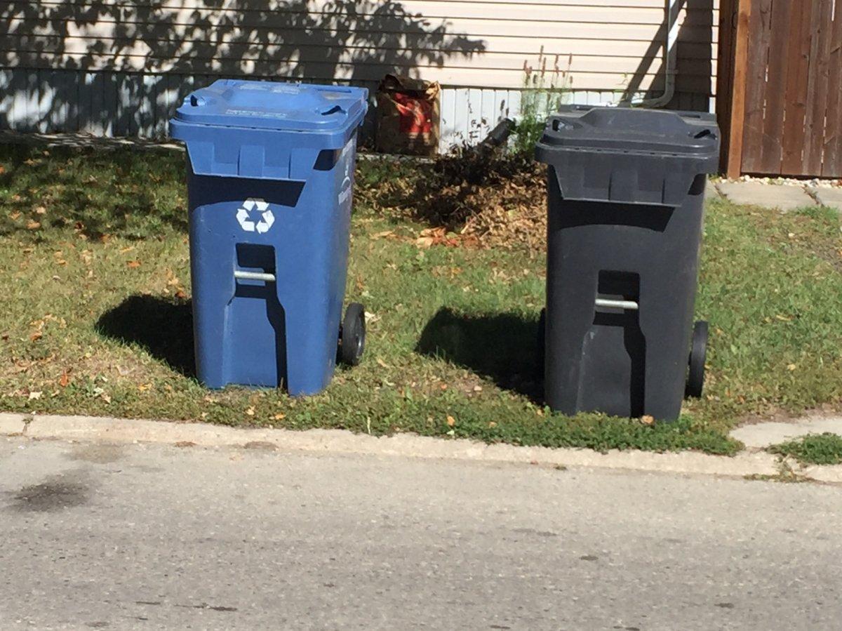 City of Winnipeg recycling and garbage bins.