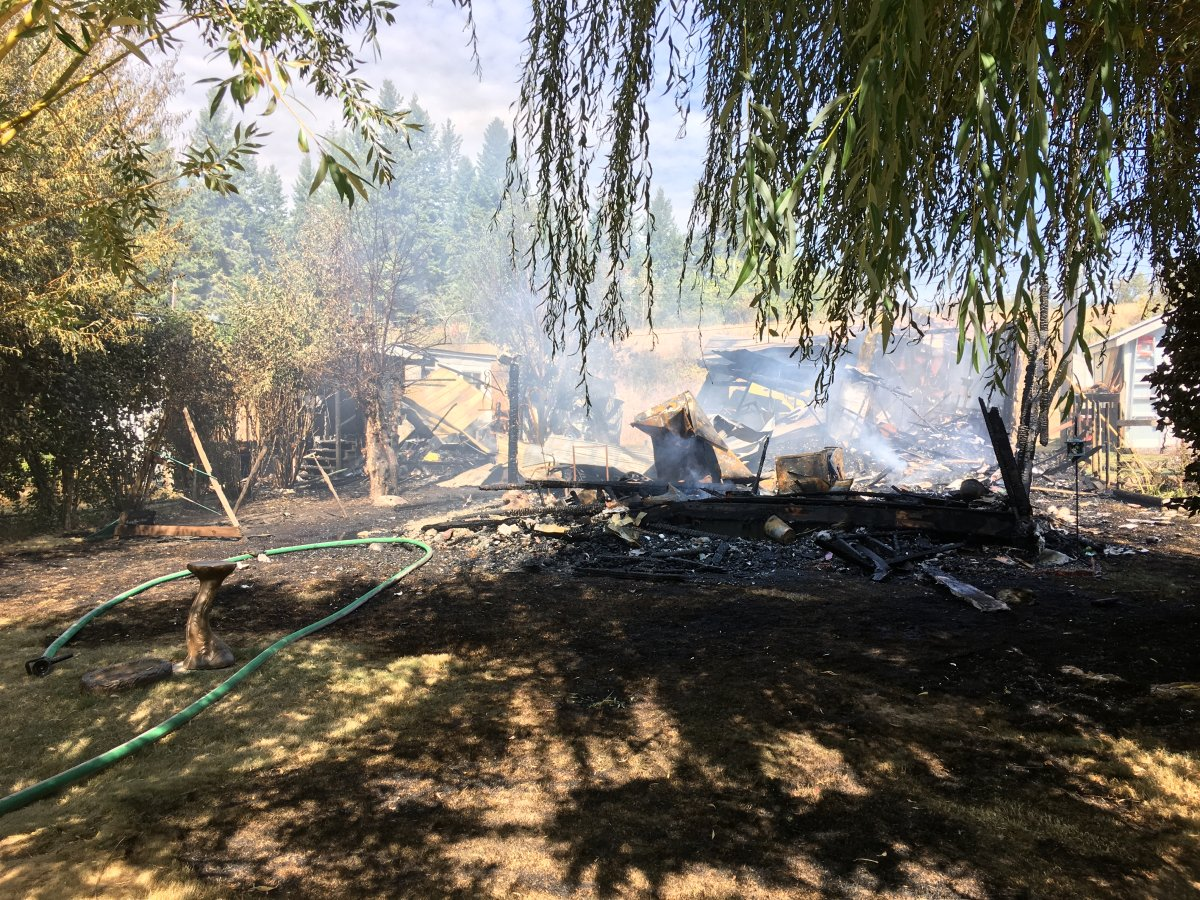 A mobile home near Lumby was gutted by fire Friday morning.