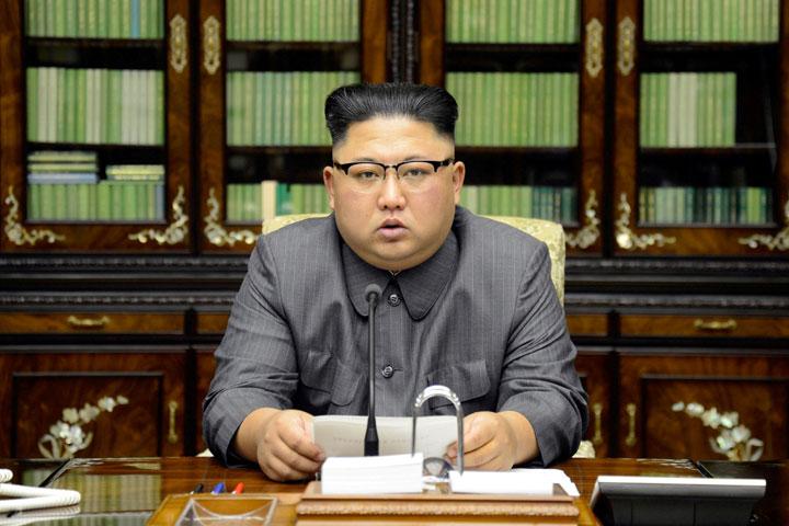 North Korea's leader Kim Jong Un on TV