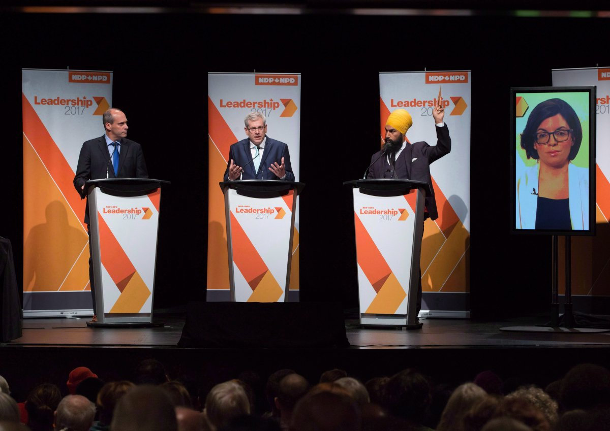 Guy Caron, from left to right, Charlie Angus, Jagmeet Singh and Niki Ashton, via satellite from Ottawa, participate in the final federal NDP leadership debate in Vancouver on September 10, 2017.