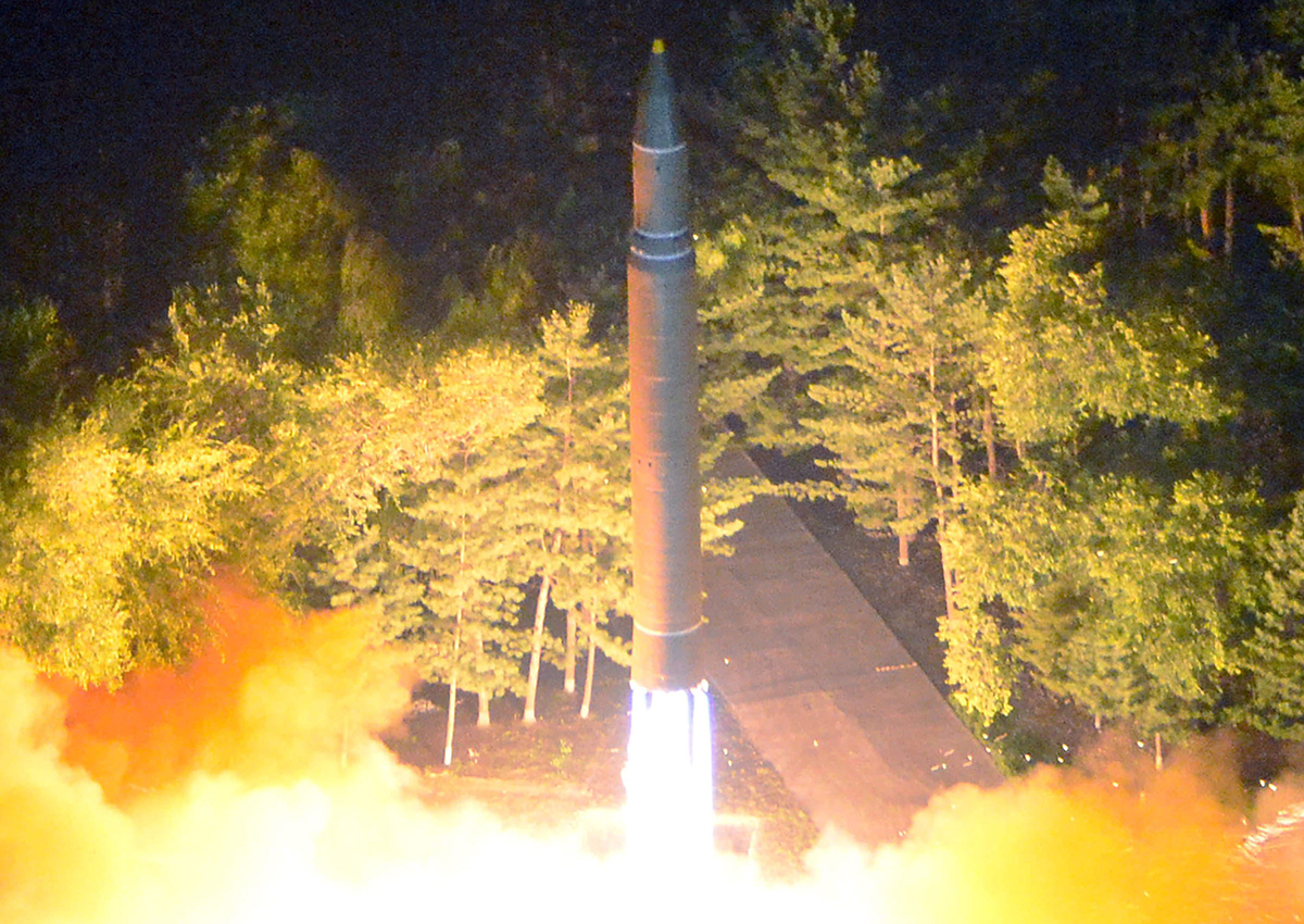 A photo made available by the North Korean Central News Agency (KCNA), the state news agency of North Korea, shows the second test-fire of ICBM Hwasong-14 at an undisclosed location in North Korea, 28 July 2017.