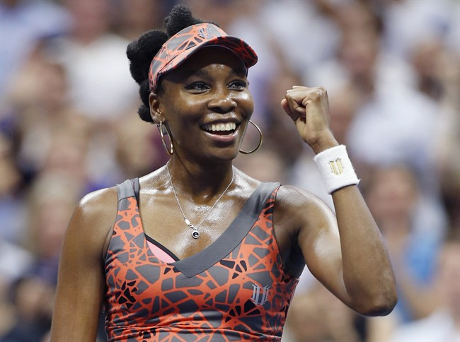 Venus Williams, of the United States, celebrates after defeating Petra Kvitova, of the Czech Republic, 6-3, 3-6, 7-6 (2) in a quarterfinal at the U.S. Open tennis tournament in New York, Tuesday, Sept. 5, 2017.