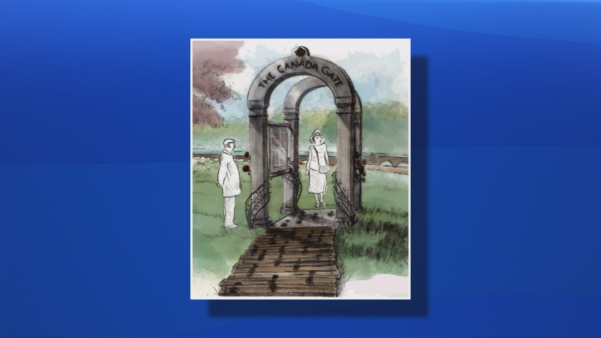 An early drawing of the Passchendaele Canada Gate designed by Nancy Keating.