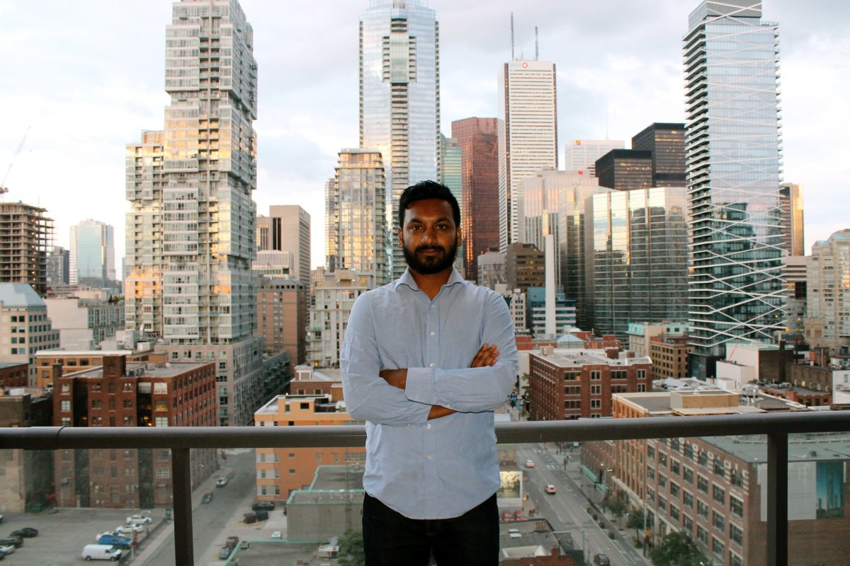 Razib Ahmed in his apartment in downtown Toronto.