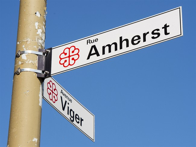The sign for Amherst street is seen Wednesday, September 13, 2017 in Montreal. Amherst Street is named after the British general who supported giving smallpox-laced blankets to the Indigenous people living here in the 1700s.