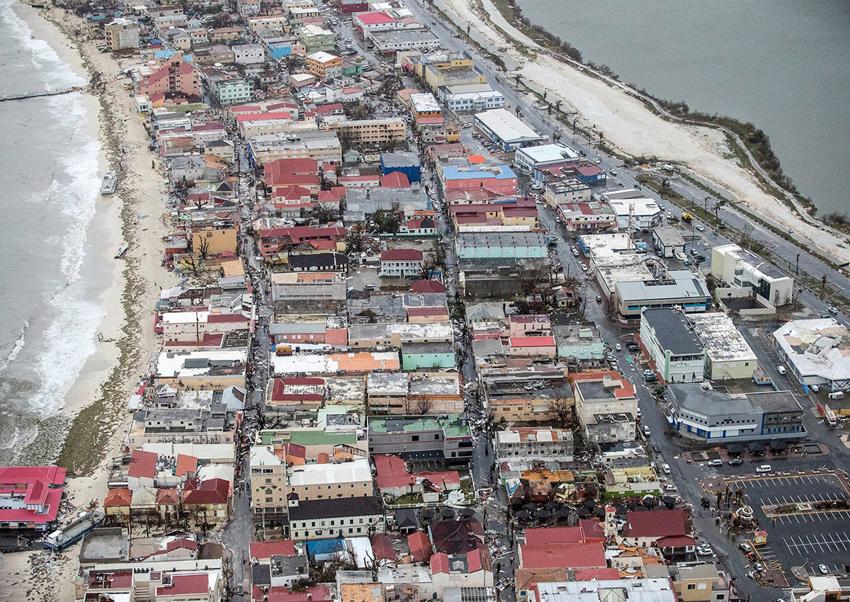 This handout photo by the Dutch Department of Defense shows an ariel view of Hurricane Irma damage on the Dutch Caribbean island of Sint Maarten (Saint Martin) on September 6, 2017.