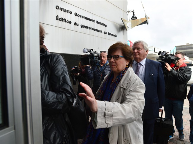 Pat Sorbara arrives for a Election Act bribery trial in Sudbury, Ontario, Thursday, Sept. 7, 2017. Sorbara, who was at the time the Ontario Liberal Party CEO, faces two charges and Gerry Lougheed, a local Liberal fundraiser, faces one charge.