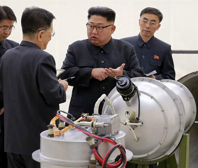 This undated file photo distributed on Sunday, Sept. 3, 2017, by the North Korean government, shows North Korean leader Kim Jong Un at an undisclosed location in North Korea.
