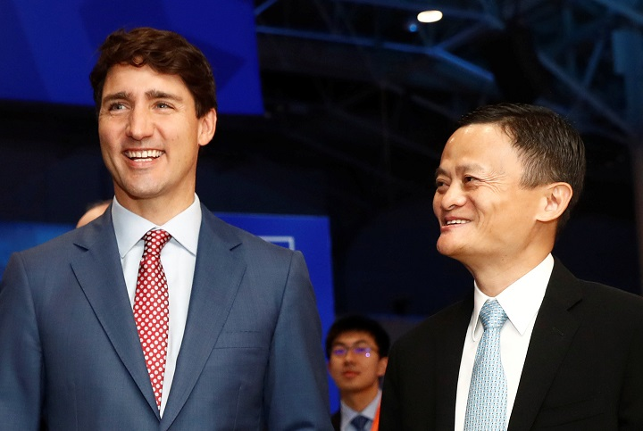 Canada's Prime Minister Justin Trudeau and Alibaba founder Jack Ma tour the marketplace at the Gateway Conference in Toronto, Ontario, Canada September 25, 2017.