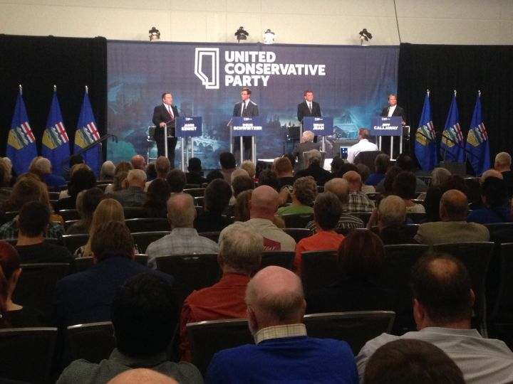 United Conservative Party leadership candidates seen at a debate in Edmonton on Sept. 28, 2017.