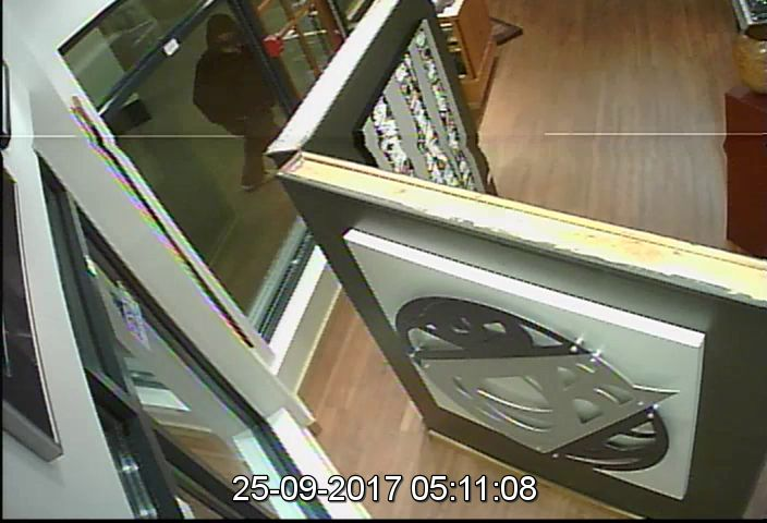 Security footage of a suspect at the Black Tusk Gallery in the 4200 block of Mountain Square, Whistler.