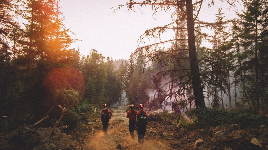 B.C. wildfire crews walk into a singed landscape in this photo from Twitter.