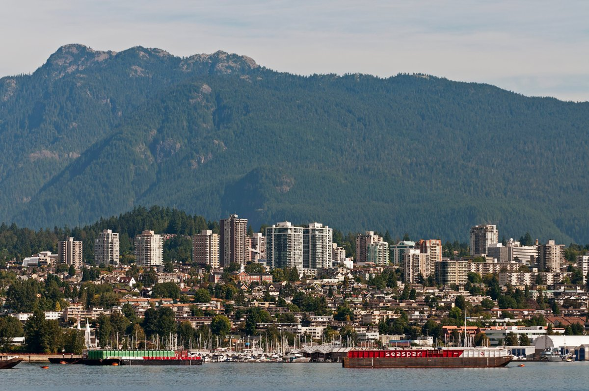 A view of the lower Lonsdale area of North Vancouver, B.C., Canada.