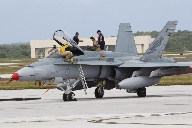 An Australian fighter jet is readied for a training mission at the Cope North military exercises at Andersen Air Force Base on the U.S. island of Guam, Thursday, Feb. 7, 2013.