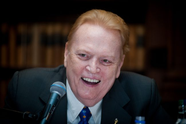 Larry Flynt speaks at the Oxford Union, Oxfordshire, Britain, Feb. 26, 2014.