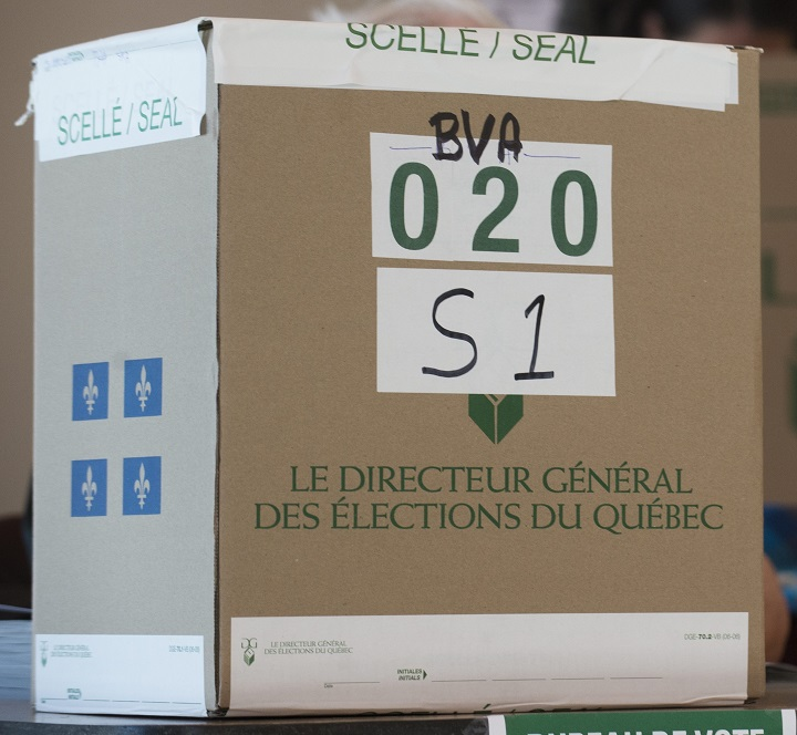 A Quebec elections ballot box is shown at an advance polling station in Montreal, Monday, March 31, 2014.