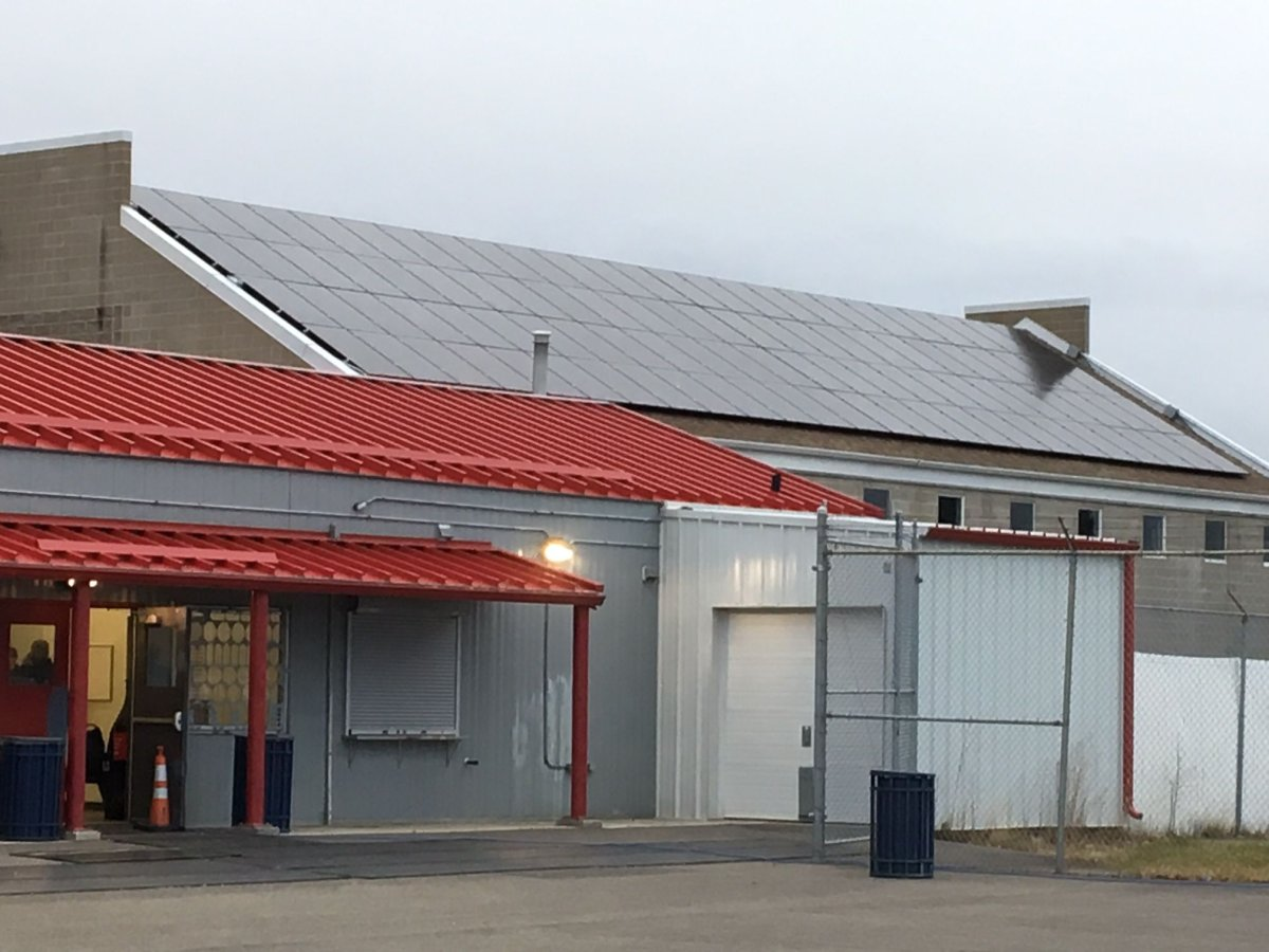 Evansdale Community League shows off its new solar panels on Oct. 25, 2017.