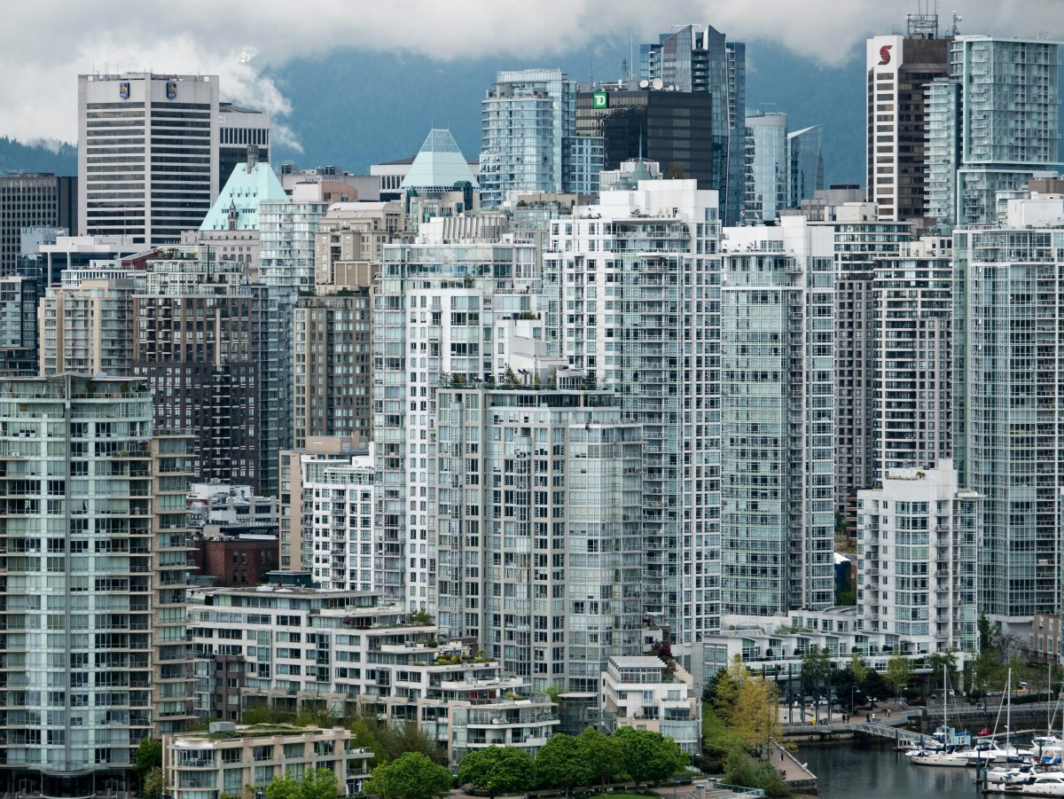 A high angle view of high-rise condominium towers crowded together on the North shore of downtown Vancouver's False Creek in Vancouver, B.C. on Friday, May 5, 2017.