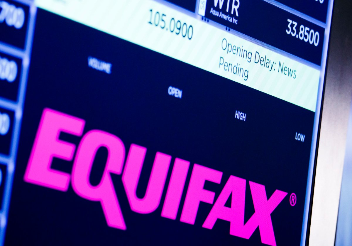 A view of a sign at the New York Stock Exchange for the company Equifax showing a delay in the stock's opening as news broke that the company's CEO Richard Smith was stepping down in New York, New York, USA, on 26 September 2017.