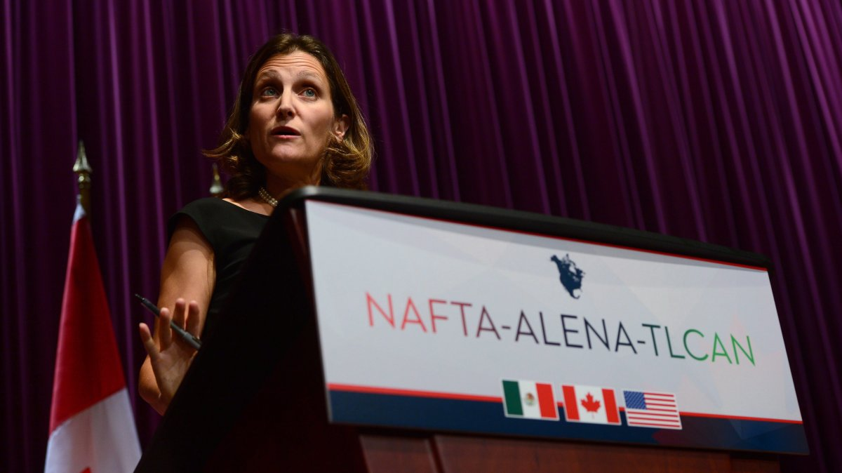 Canada's Foreign Affairs Minister Chrystia Freeland fields questions on the NAFTA negotiations at a news conference in Ottawa on Wednesday, Sept. 27, 2017.