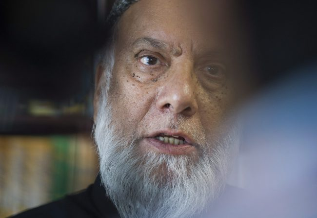 Imam Syed Soharwardy who is founder of Muslims Against Terrorism (MAT) and Islamic Supreme Council of Canada (ISCC) speaks to reporters at a mosque in Montreal, Sunday, October 1, 2017.