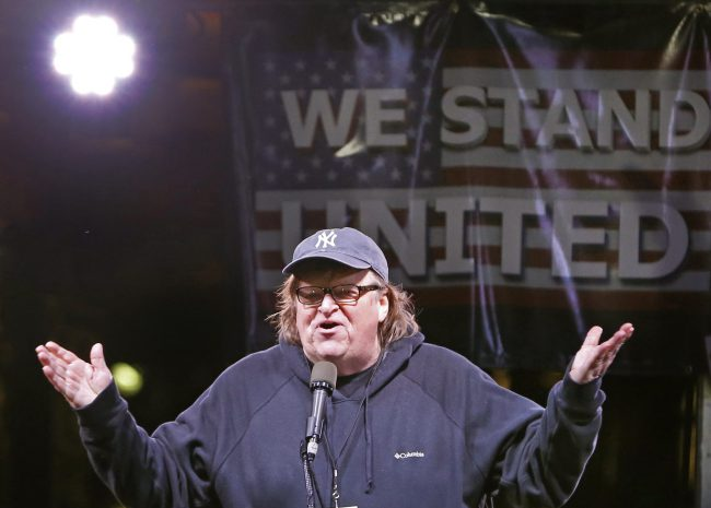 Michael Moore speaks at an anti-Trump rally and protest in front of the Trump International Hotel in New York, Jan. 19, 2017.