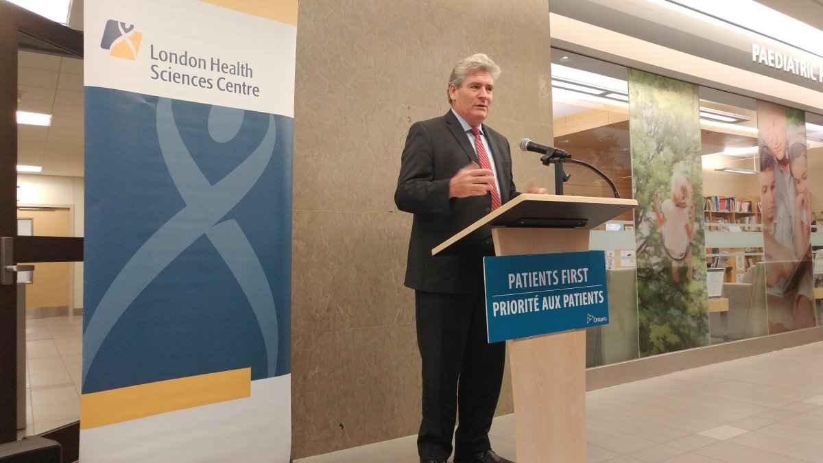 Parliamentary Assistant to the Minister of Health John Fraser at a funding announcement in London on Oct. 26, 2017.