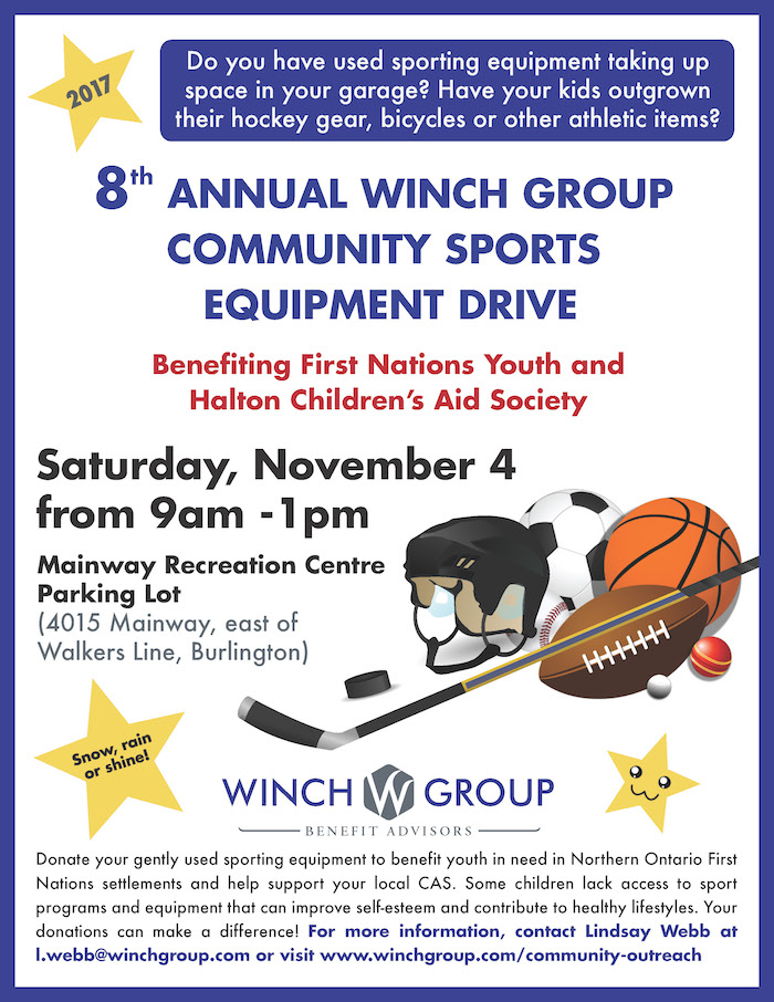 Donate your gently used sporting equipment to benefit youth in need in Northern Ontario First Nations settlements and help support your local CAS with our pop-up barbecue. Some children lack access to sport programs and equipment that can improve self-esteem and contribute to healthy lifestyles. Your donations can make a difference!.