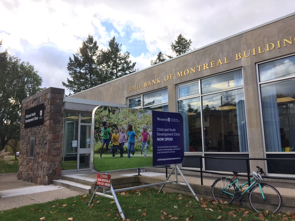The Child and Youth Development Centre is open at the former Bank of Montreal building just north of Western University's main gates at  1163 Richmond St.