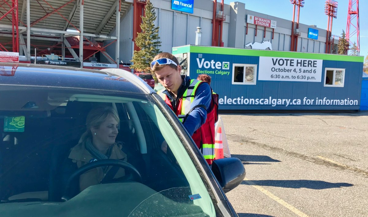 The City of Calgary demonstrated how the new drive-thru advance voting station will work for the 2017 election.