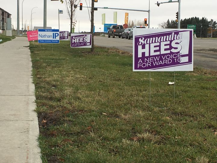 Campaign signs line the streets in south Edmonton's Ward 10 ahead of the 2017 election.