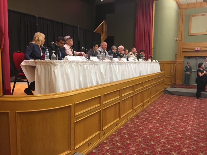 Mayoral candidates are seen at a forum at the Italian Cultural Centre on Oct. 11, 2017.