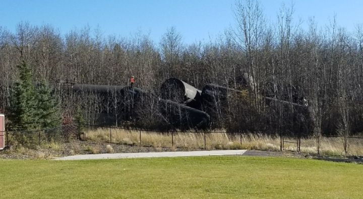 Emergency officials asked residents of an area northwest of Edmonton - near St. Albert - to leave their homes on Sunday afternoon after a train derailed near the Sturgeon Road crossing.