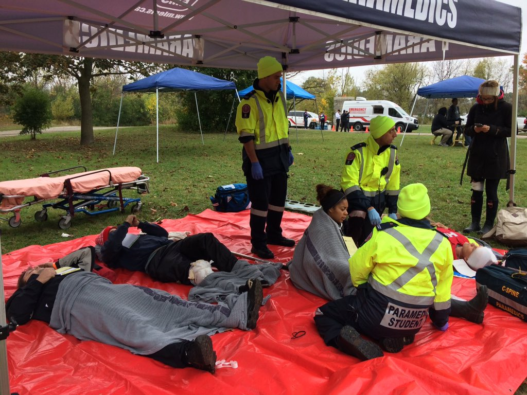 Fanshawe College paramedic students treat 'victims' of simulated tornado at Westminster Ponds, Oct. 12, 2017.